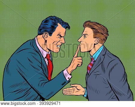 Aggressive Argument Between Two Men. One Is Good And The Other Is Evil. Pop Art Retro Illustration K