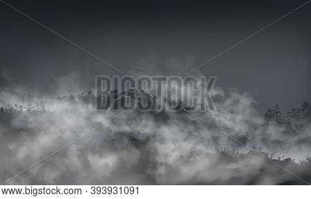 Grassy Field With Hills, Rocks, Boulders Inside The Mist Clouds. Vector Haze Landscape Llustration.