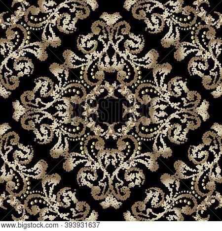 Textured Vintage Seamless Pattern. Stippled Floral Ornamental Background. Decorative Grunge Repeat B