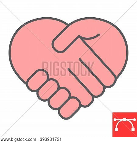 Heart Handshake Color Line Icon, Love And Help, Handshake Sign Vector Graphics, Editable Stroke Fill