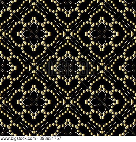 Black And Gold Dotted Seamless Pattern. Ornamental Vector Background. Repeat Polka Dots Backdrop. De