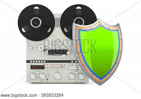 Reel-to-reel Tape Recorder With Shield, 3d Rendering Isolated On White Background