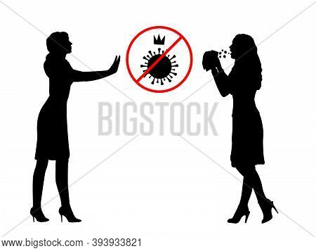 Silhouettes Of Girl Showing Stop Gesture Limiting Covid19 To Another Sick Girl. Illustration Graphic