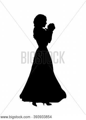 Silhouette Happy Mother Holding Newborn Baby In Arms. Illustration Graphics Icon Vector