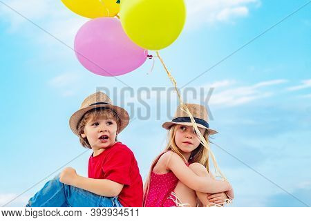 Happy Valentines Day. Adventure And Vacations Children Concept. Happy Kid On Summer Field. Love Stor