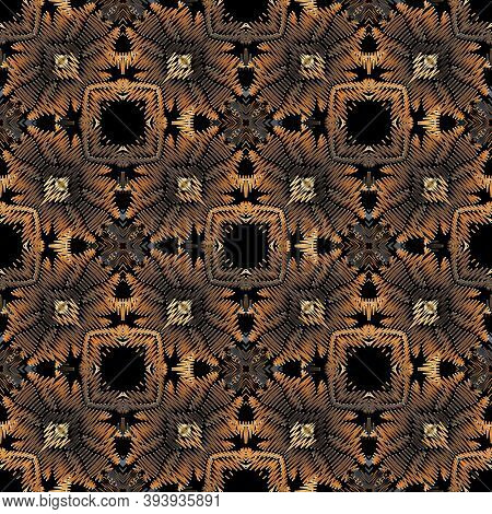 Embroidery Floral Vector Seamless Pattern. Baroque Ornaments. Grunge Background. Tapestry Wallpaper.