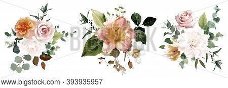Dusty Yellow, Blush Pink And White Rose, Lily, Pale Tulip, Fall Garden Flowers, Eucalyptus, Greenery