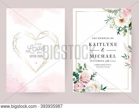 Flower Geometric Heart Line Art Vector Design Frames. Wedding Watercolor Flowers. Ivory White Peony,