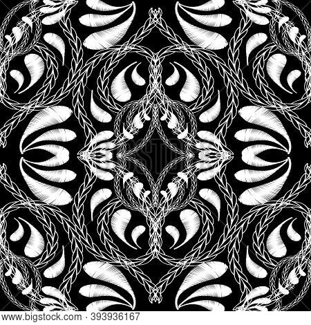 Stitching Embroidery Floral Black And White Vector Seamless Pattern. Onamental Tapestry Stitching Ba