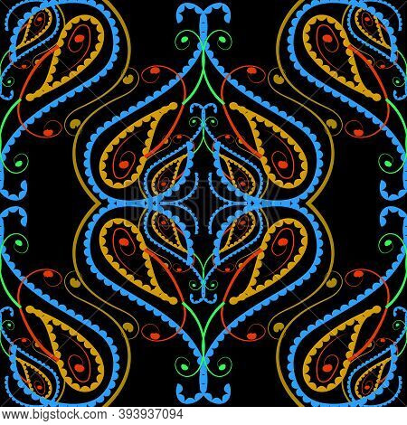 Colorful Floral Paisley Vector Seamless Pattern. Hand Drawn Line Art Tracery Paisley Flowers, Curves