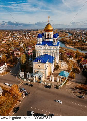 Aerial View From Drone Of Ascension Cathedral In Autumn Yelets, Lipetsk Region, Russia