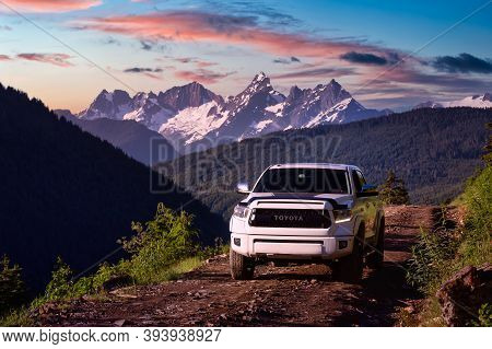 Chilliwack, British Columbia, Canada - July 2020: Toyota Tacoma Riding On The 4x4 Offroad Trails In
