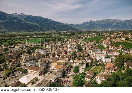 Scenic Aerial View Of The Village In Triesenberg , Natural Border Of Liechtenstein, An Alpine Countr