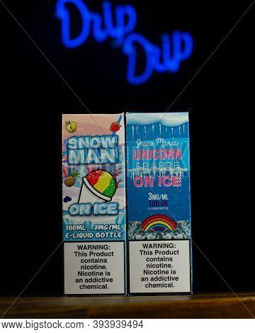 Ufa, Russia, Vape Shop, 3 July, 2019: E-liquid E-juice High Vape For Electronic Cigarette Vaping Dev