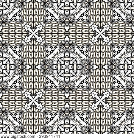 Wicker Intricate Black And White Vector Seamless Pattern. Braided Ornamental Geometric Background. M