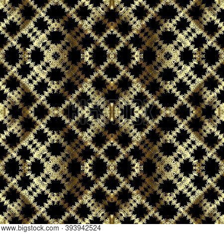 Waffle Embroidery Gold Vector Seamless Pattern. Stitching Striped Textured Geometric Background. Tap