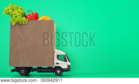 Delivery Of The Grocery Shopping Bag At Home With A Van On Green Background.
