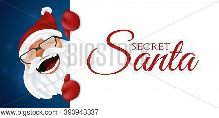 Funny Cartoon Santa Claus In Red Hat, Gloves And Glasses. Laughing Christmas Character In Traditiona