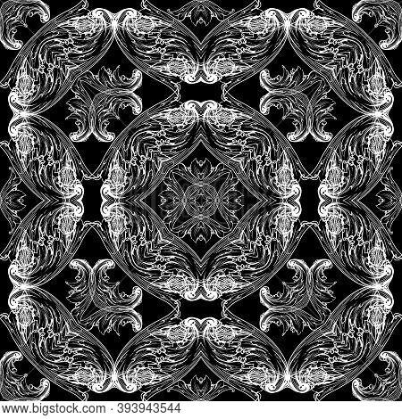 Baroque Vector Black And White Seamless Pattern. Ornamental Floral Elegant Ornament. Repeat Ornate B