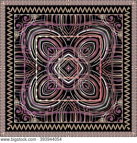 Beautiful Abstract Geometric Lines Seamless Pattern. Vector Ornamental Colorful Background With Zigz