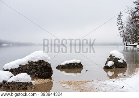 Calm Winter Nature - Tranquil Lake Bohinj With Snow Covered Rocks Looking Out The Water.