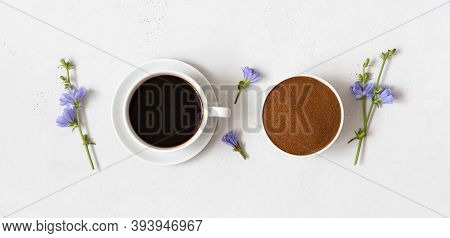 Chicory Drink, Chicory Powder In A Bowl And Blue Flowers On A White Background. Herbal Coffee Substi