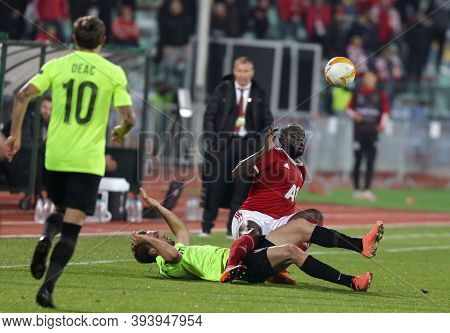 Sofia, Bulgaria - 22 October, 2020: Amos Youga (r) Of Pfc Cska-sofia In Action During The Uefa Europ