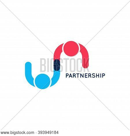 Partnership Business Logo. Teamwork Logo On White