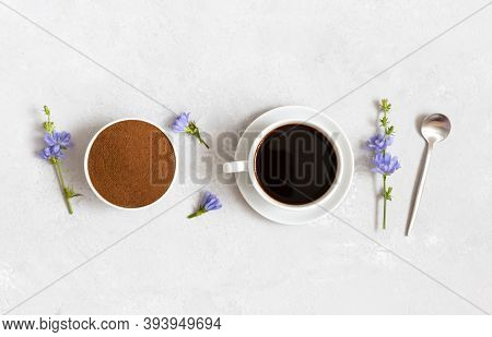 Chicory Drink, Ground Chicory Root And Blue Flowers On A White Background. Herbal Alternative To Cof