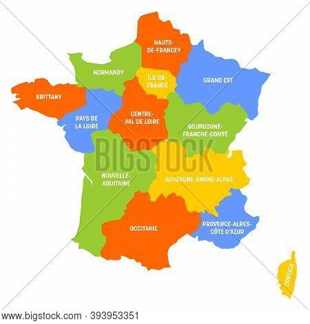 France Political Map Of France. Administrative Divisions - Metropolitan Regions. Simple Flat Vector