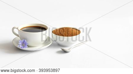 Chicory Coffee And Ground Chicory Root Isolated On A White Background. Healthy Herbal Drink. Copy Sp