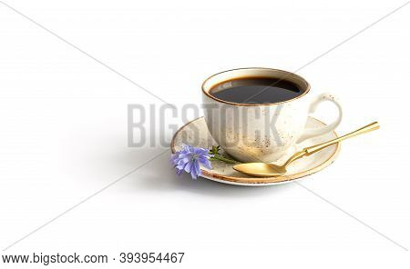 Chicory Drink, Blue Chicory Flowers And A Spoon Isolated On A White Background. Healthy Coffee Subst