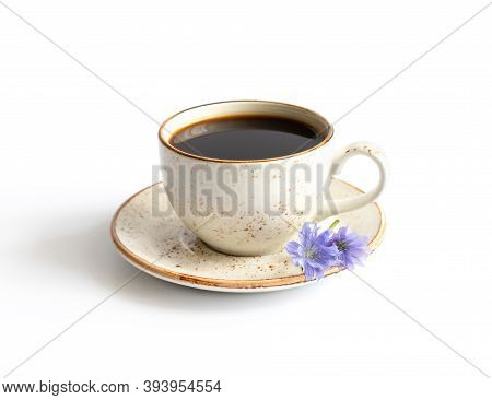 Drink With Chicory And Blue Chicory Flower Isolated On A White Background. Natural Coffee Substitute