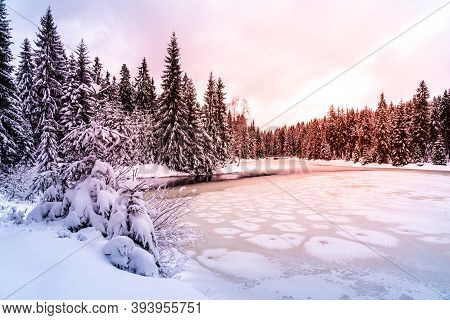 Icy Winter Sunset At Frozen Pond. Snowy Landscape. Blatny Water Reservoir In Jizera Mountains, Czech