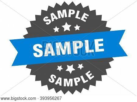 Sample Sign. Sample Blue-black Circular Band Label