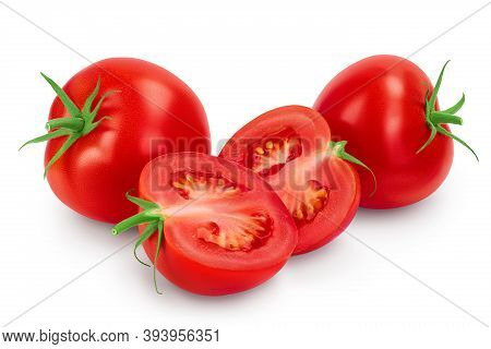 Tomato With Half Isolated On White Background With Clipping Path And Full Depth Of Field.