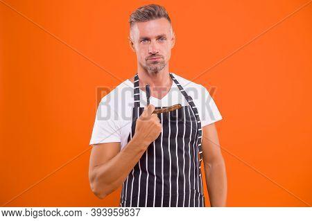 Barbershop Style Starts Here. Barber Hold Razor Orange Background. Bearded Man Shave In Barbershop.