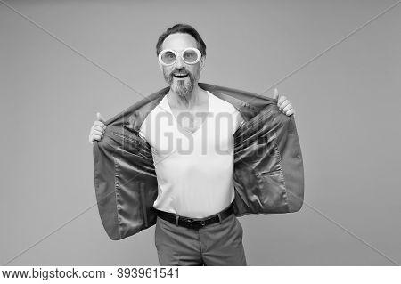 Fashion Victim. Epatage Fashion Designer Grey Background. Fashion Look Of Bearded Man. Mature Fashio