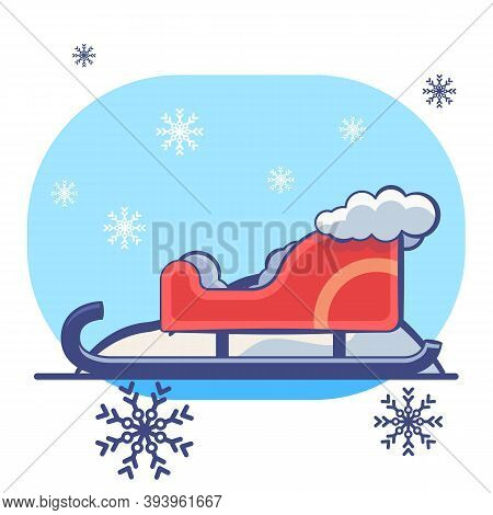 Red Santa Sledge On White Isolated Backdrop. Christmas Holiday Postcard For Invitation Or Gift Card,