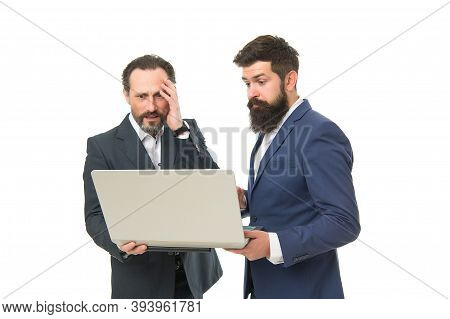 Computer Business Is Too Competitive. Businessmen Deal With Computer Problem. Specialists Recover Do