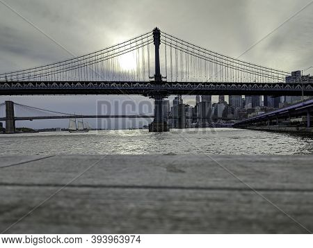 New York,ny/usa - October 26 2019: Two Bridges: Brooklyn Bridge And Manhattan Bridge Over East River