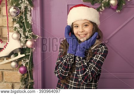 Fashionable Little Child. Merry Christmas. Winter Accessories. Santa Claus Hat Accessory. Little Fas
