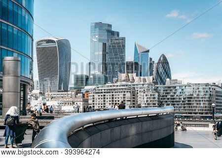 London - 18 July 2020 - View Of London City Skyline With Modern Architecture From London Bridge Rive