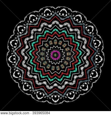 Tapestry Floral Abstract Vector Mandala Pattern. Ornamental Colorful Textured Background. Decorative