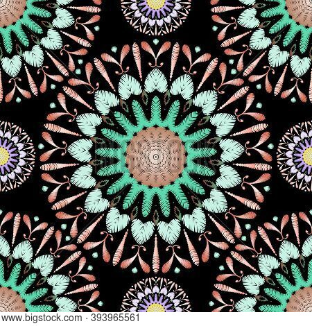 Tapestry Colorful Mandalas Seamless Pattern. Embroidery Ornamental Vector Background. Ethnic Tribal