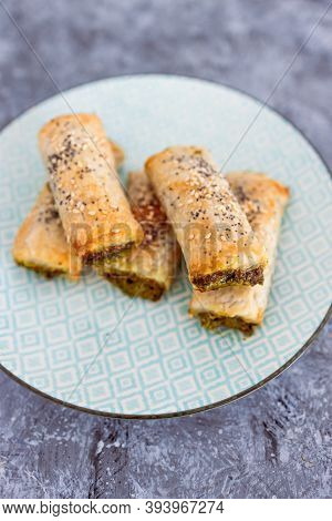 Plant-based Food, Vegan Spinace Pesto And Dairy Free Cheese Pastry Rolls