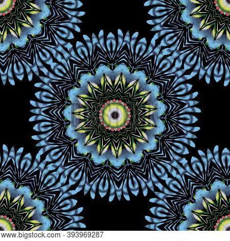 Tapestry Floral Vector Seamless Mandala Pattern. Ornamental Colorful Textured Background. Embroidere