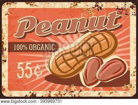 Peanut Nuts Metal Rusty Plate, Food Store Price Menu, Vector Vintage Retro Poster. Raw Food Snacks A