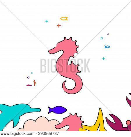 Sea Horse Filled Line Vector Icon, Simple Illustration, Sea World, Marine Life Related Bottom Border