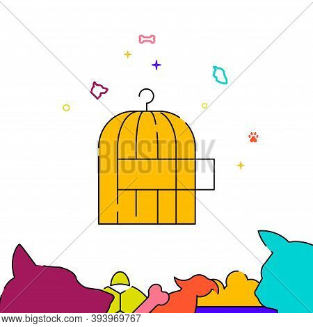 Birdcage Filled Line Vector Icon, Simple Illustration, Pets Related Bottom Border.